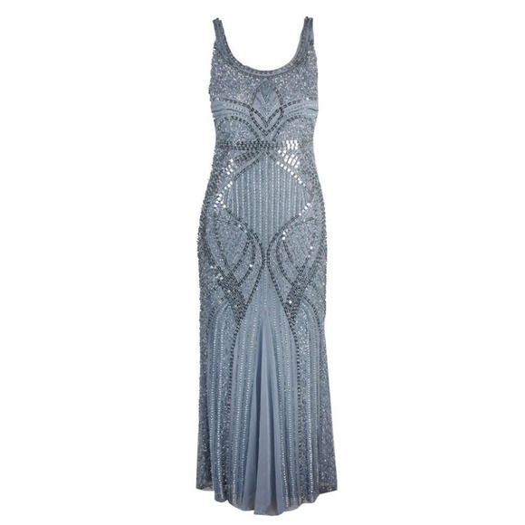 Adrianna Papell Dresses | Petite Blue Heather Beaded Gown | Poshmark